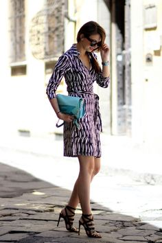 Emilie from The Brunette blog wearing a DVF Wrap Dress