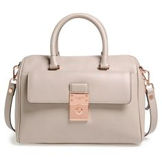 Ted Baker London 'Luggage Lock' Leather Satchel ($389) ❤ liked on Polyvore featuring bags, light grey, satchel hand bags, leather strap bag, zip top bag, handbag satchel and ted baker