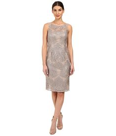 Adrianna Papell Sequin Embroidered Lace Sheath Dress Mink - Zappos.com Free Shipping BOTH Ways