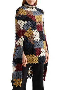 Shop on-sale Rosetta Getty Crocheted alpaca-blend poncho. Mode Crochet, Knit Crochet, Crochet Cat Pattern, Rosetta Getty, Crochet Jacket, Crochet Woman, Discount Designer Clothes, Crochet Fashion, Fashion Outlet