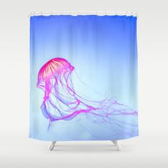 Blue Shower Curtain, Ocean Shower Curtain, Water Bath Decor, Summer Bathroom Accessories, Jellyfish Shower Curtain, Beach Decor, Sea Life by OlaHolaHolaBaby on Etsy https://www.etsy.com/uk/listing/468104119/blue-shower-curtain-ocean-shower-curtain
