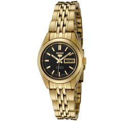 Seiko Women's SYMA40K Seiko 5 Automatic Black Dial Gold-Tone Stainless Steel Watch ** Check out this great image
