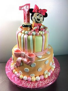 Baby Minnie Birthday Cake