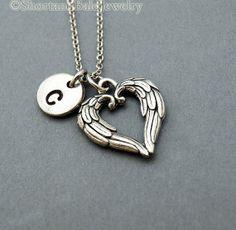 Angel Wings Heart necklace angel wings by ShortandBaldJewelry, $19.75