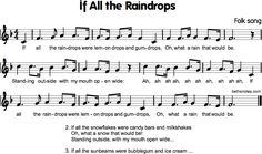 If All the Raindrops If all the gumdrops ~a fun song for the kiddos to sing ~If all the snowflakes… Rhymes Songs, Fun Songs, Kids Songs, Preschool Music, Music Activities, Gum Drops, Rain Drops, Snowflakes