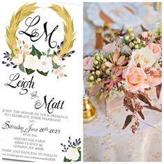 Spring/Summer Blush Pink Gold and Navy Floral Wreath Wedding Invitation with Hand Written Calligraphy. Design Colors can be customized to your bouquet by Behold Designz.