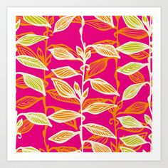 CLIMBING LEAVES_BRIGHTS Art Print by patternaddict - $15.00