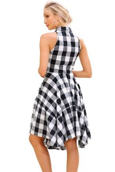 Black White Gray Checks Flared Shirtdress novashe.com