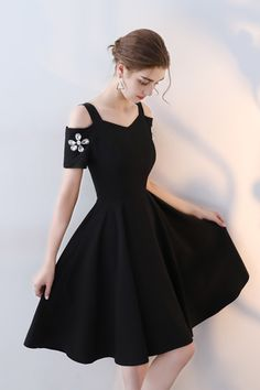 Cute black polyester short prom dress for teens #fashion #homecoming #dress