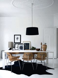 Eames DCMs, dining table, pendant + hide