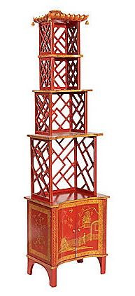red pagoda bookcase - dig the tiny bells suspended from the top!