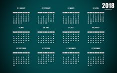 Download wallpapers The calendar for 2018, green background, 2018 year calendar, 4k, all months