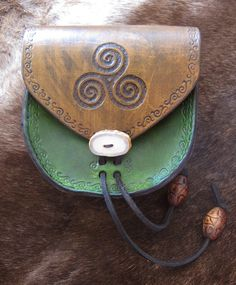 Celtic knot triskele belt pouch for LARP or by ScreamingNorth, $65.00