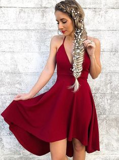 A-Line Spaghetti Straps Sleeveless High Low Red Homecoming Dress 1ac9845f3