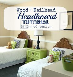 Wood + Nailhead Headboard Tutorial via DIYOntheCheap.com