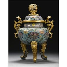 A Fine Rare And Large Cloisonne Enamel Tripod Censer. Qing Dynasty, Qianlong Period