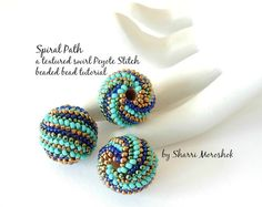 Spiral Path - Peyote Stitch Beaded Bead tutorial by Sharri Moroshok
