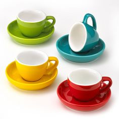 Amazon.com   Espresso Cups and Saucers, Set of 4 Assorted Vibrant Colors, 3-Ounce Demitasse for Coffee, Durable Porcelain: Espresso Cups