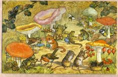 Vintage item from the Toadstool Market. Pk artist signed Molly Brett, vintage postcard, adorable animals shop for mushrooms size is about inches by 5 Woodland Creatures, Woodland Animals, Woodland Art, Forest Animals, Art And Illustration, Animal Illustrations, Zany Zoo, Animal Painter, Elsa Beskow