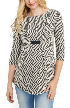Maternal America Textured Geo Pattern Maternity Top available at #Nordstrom