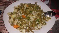 Arroz integral, judias verdes, patata, trigueros, setas y zanahoria