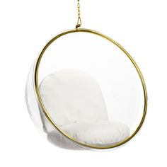 Bedroom Chair, Bedroom Decor, Bedroom Furniture, Bedroom Ideas, Bubble Chair, Acrylic Chair, Ball Chair, White Cushions, Chair Cushions