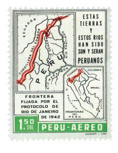 Un caso más es el de las tierras adjudicadas a Perú por el protocolo de Río de Janeiro, en 1942; El cual Ecuador no reconoce oficialmente. PERÚ, 1962 Estampillas aéreas. Mapa de la frontera disputada entre Perú y Ecuador.