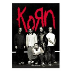 Korn Hanger Fabric Poster - Rock out with this Korn Hanger Fabric Poster! This product is a textile poster Flag with a group photo of the band in a hanger. Poster measures 30 x 40.