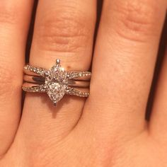 Wedding Rings Absolutely stunning carat marquise solitaire engagement ring in a beautiful enhancer. Engagement Solitaire, Wedding Rings Solitaire, Engagement Rings Round, Vintage Engagement Rings, Wedding Bands, Marquise Wedding Set, Engagement Ideas, Bridal Rings, Marquise Ring