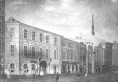 An ancient incision that show the house (before his demolition occurred in 1849) where Mozart died.