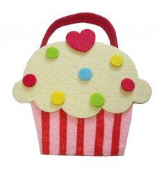Filz Cupcake rosa Beutel Tasche aus Filz ca. 12,5 x 12 cm…