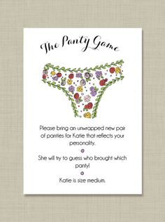 Printable  Custom  Bridal Shower  Panty Game by PippyPaperGoods, $12.00