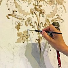 The art of Grisailles - a method of painting in sepia or grey monochrome usually to imitate plasterwork or sculpture. Chinoiserie, Ceiling Murals, Wall Murals, Wall Art, Lock Drawing, Motif Arabesque, Stencil Painting, Stenciling, Hand Painted Furniture