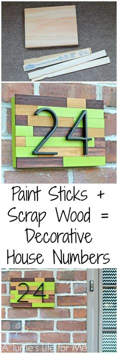 Creative Ways to Increase Curb Appeal on A Budget - House Number Plaque DIY - Cheap and Easy Ideas for Upgrading Your Front Porch Landscaping Driveways Garage Doors Brick and Home Exteriors. Add Window Boxes House Numbers Mailboxes and Yard Makeovers Budget Patio, Diy On A Budget, Scrap Wood Projects, Home Projects, Diy House Number Plaques, Diy House Numbers, Deco Originale, Painted Sticks, Up House