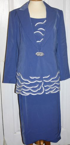 Louise Ricci size 10 purple beaded suit formal 2 piece suit new skirt blazer  #LouiseRicci #SkirtSuit