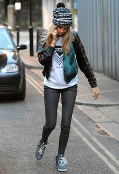 Cara Delevingne wearing Chanel Coated Toile and Calfskin High Top Sneakers