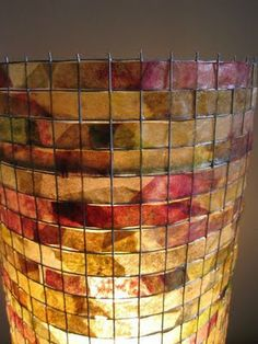 Vilma Farrell, lamp shade made from recycled coffee filters, stained with vegetables and spices