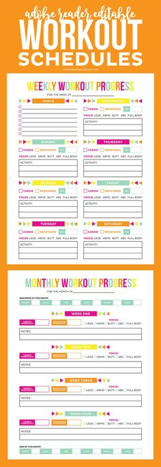 FREE Printable Workout Schedule and Progress sheet to help you keep in shape! Completely customize your workout routine with these printables! Fitness Planner, Fitness Journal, Fitness Tips, Fitness Motivation, Gym Planner, Planner Ideas, Workout Journal, Workout Planner, Workout Binder