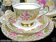 Beautiful Royal Chelsea  Tea Cup And Saucer Trio Gold Gilt