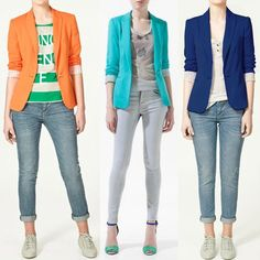 New Womens Candy Color One Button Tunic Foldable Sleeve Slim Blazer Suit Jacket | eBay