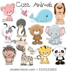 Set of Cute Animals on a white background animals baby animals cats Pandas puppies animals Cute Cartoon Animals, Cartoon Dog, Cute Baby Animals, Animals And Pets, Funny Animals, Wild Animals, Animals Images, Cartoon Images, Baby Animal Drawings