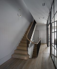 A recent project for Toscafund and Michaelis Boyd Associates; a new build 4 storey house with a basement and sub-basement featuring a swimming pool, steam room and media room. Foyer Staircase, Staircase Handrail, Stair Railing, Staircase Design, Victorian Stairs, Victorian Homes, Interior Stairs, Interior Design Living Room, Kitchen Interior