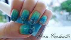 cool Aqua Glitter Nail Art