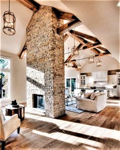 Freestanding fireplace to break up a large room