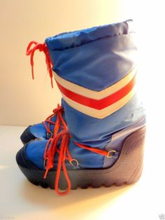 Moon boots mens size 7 8 womens 8.5 9 red white blue vintage made in Korea 80's #RWB #MoonBoots