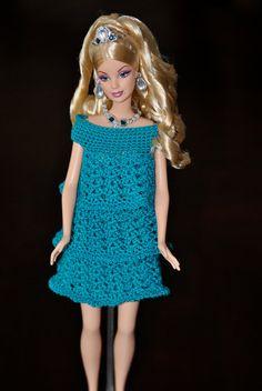 Made to Order Barbie Crochet Dress 3 Tier Ruffle por mysticneedle