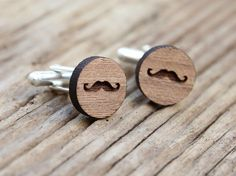 Moustache Cufflinks | Walnut Wood Stuff About Things https://www.etsy.com/au/shop/stuffaboutthings  Embrace your inner hipster with these moustache cufflinks.   We have laser cut and hand crafted these cufflinks from 3mm thick walnut wood. The cuffs are 16mm in diameter and are finished with a strong, clear lacquer for protection.  All cufflinks are gift wrapped in brown kraft bags, and decorated with twine.