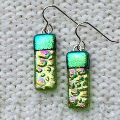Fused Glass earrings - lime green - fused dichroic glass dangle earrings handmade jewellery by Fired Creations Glass EE 372 by FiredCreationsGlass on Etsy