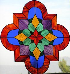 San Diego Stained Glass -  Dragonfly Stained Glass - Sue Ellen Miller: Spanish Style Quatrefoil