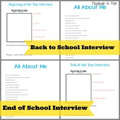Free Printable Kid Interviews * Beginning & End of Year interviews w/ All About Me sections & first/last day of school photos. Put this in a binder & collect school papers, certificates, fun artifacts to put in plastic sleeves * {Playdough to Plato} Kids Going To School, Beginning Of The School Year, School Fun, School Days, Back To School, School Stuff, All About Me Project, School Interview, All About Me Activities